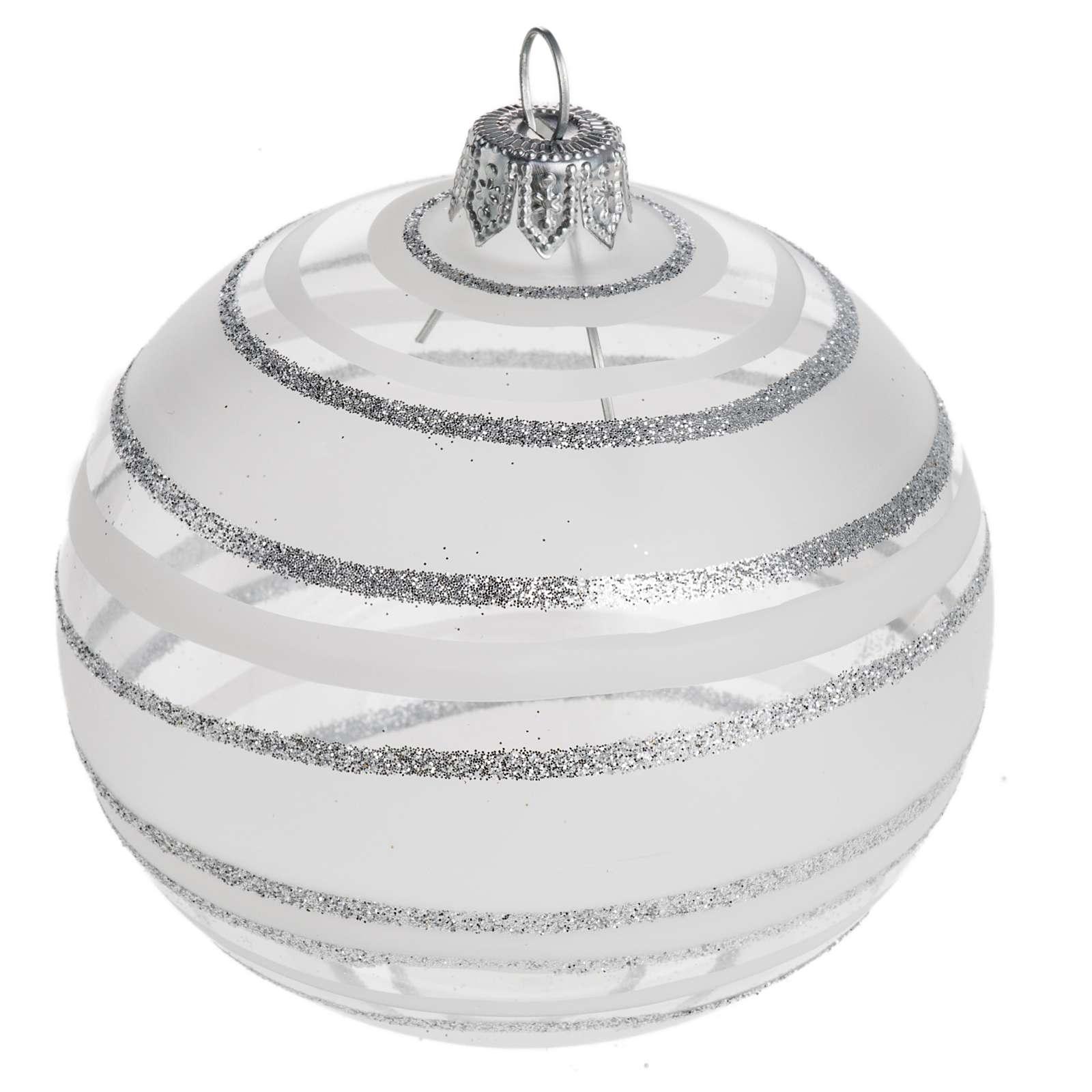 Palla Natale per l'albero vetro soffiato argento 8 cm 4