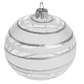 Palla Natale per l'albero vetro soffiato argento 8 cm s1