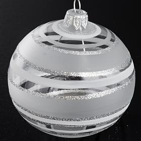 Palla Natale per l'albero vetro soffiato argento 8 cm s2