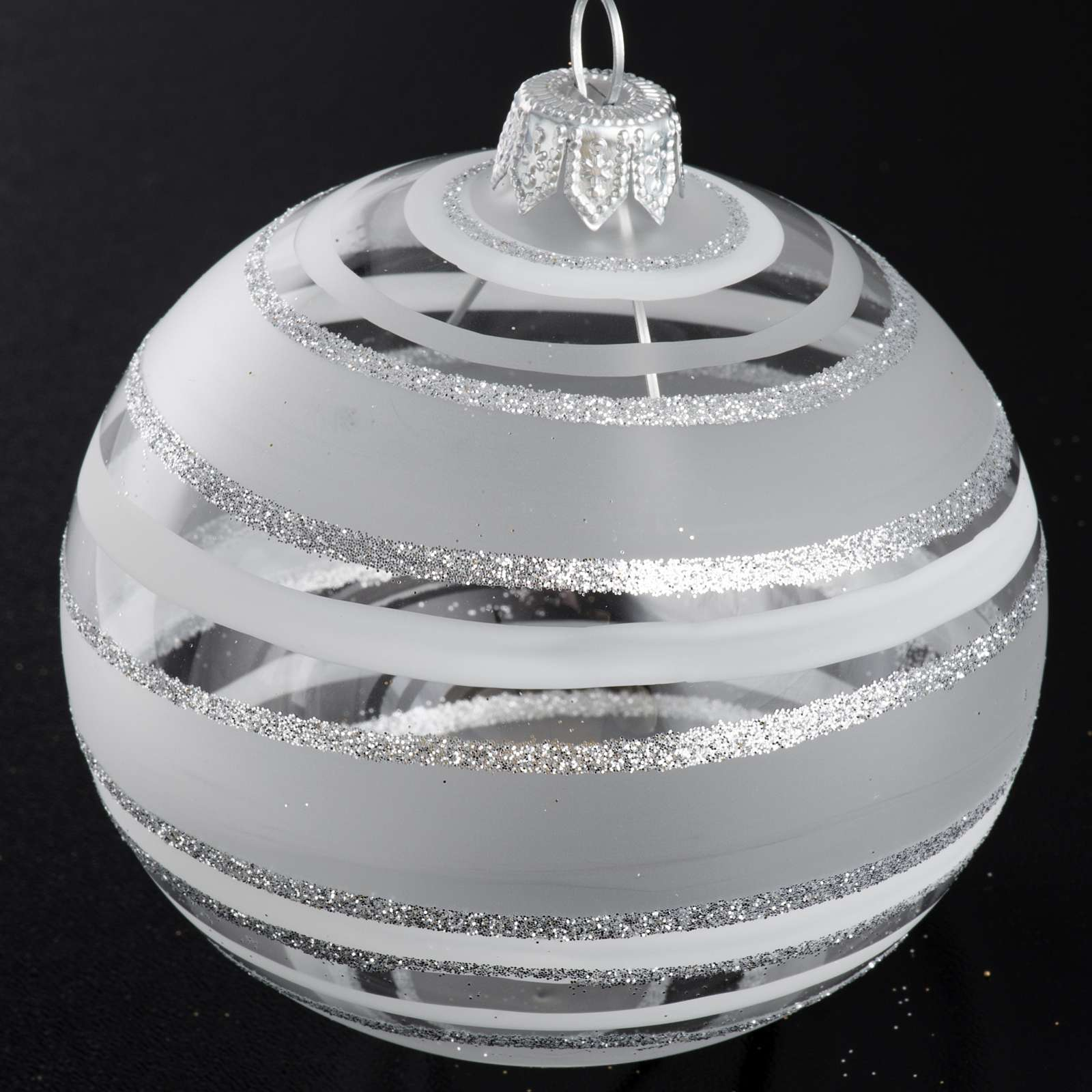 Bauble for Christmas tree in blown glass, silver 8cm 4
