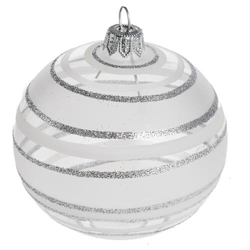 Bauble for Christmas tree in blown glass, silver 8cm 1