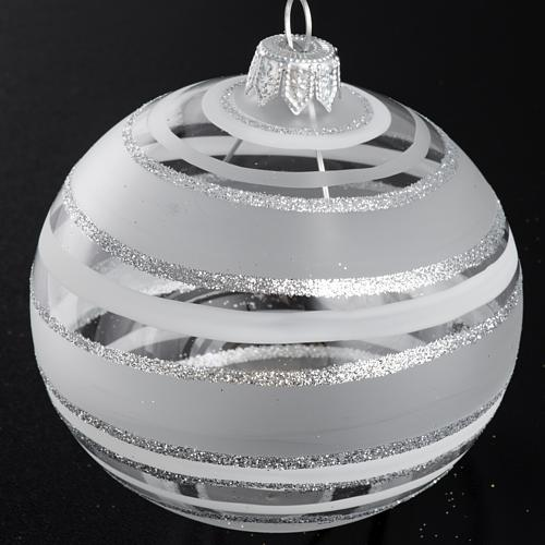Bauble for Christmas tree in blown glass, silver 8cm 2