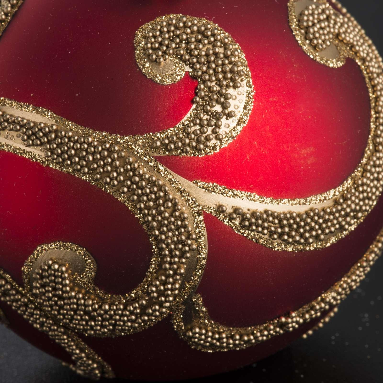 Boule de Noel rouge dorée 8 cm 4