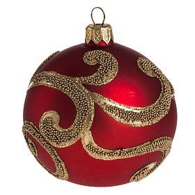 Boule de Noel rouge dorée 8 cm s1
