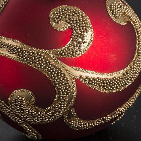 Boule de Noel rouge dorée 8 cm s3