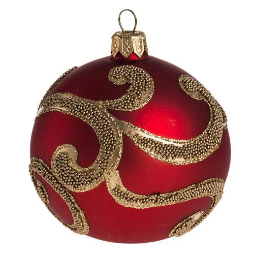 Boule de Noel rouge dorée 8 cm 1