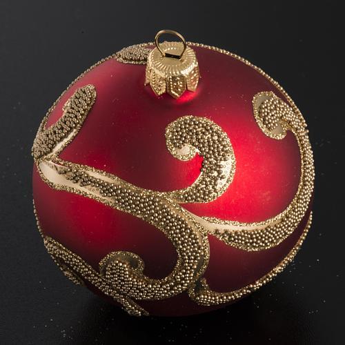 Boule de Noel rouge dorée 8 cm 2