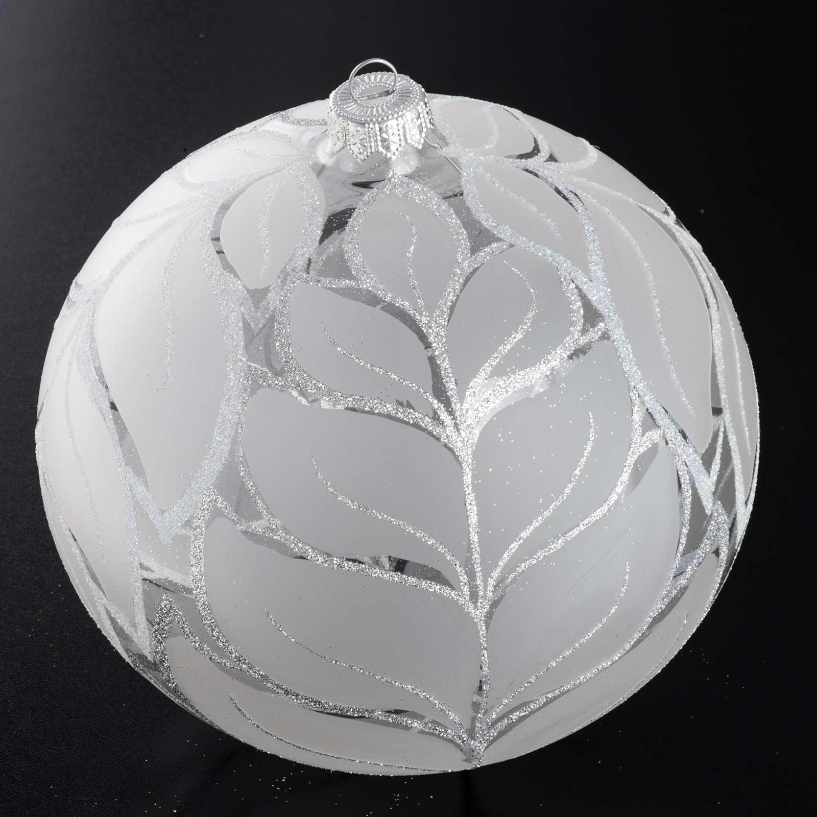 Palla Natale per albero vetro argento 15 cm 4