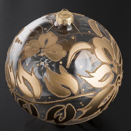 Palla Natale per l'albero vetro soffiato oro 15 cm 2
