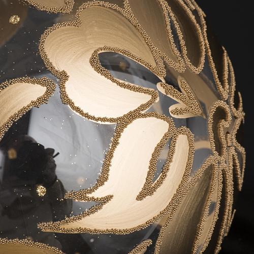 Palla Natale per l'albero vetro soffiato oro 15 cm 3