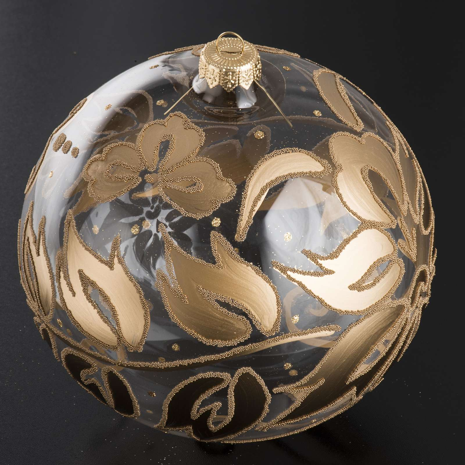 Bauble for Christmas tree in blown glass, gold 15cm 4