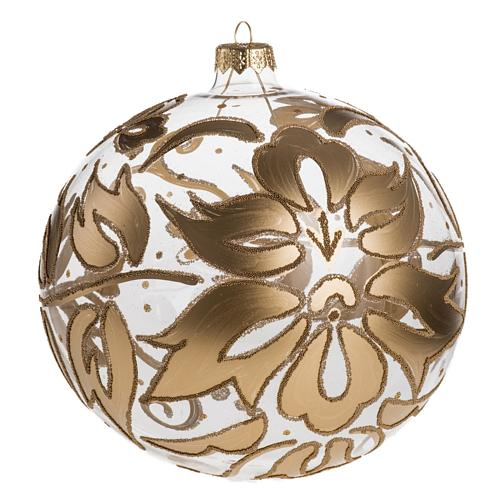 Bauble for Christmas tree in blown glass, gold 15cm 1
