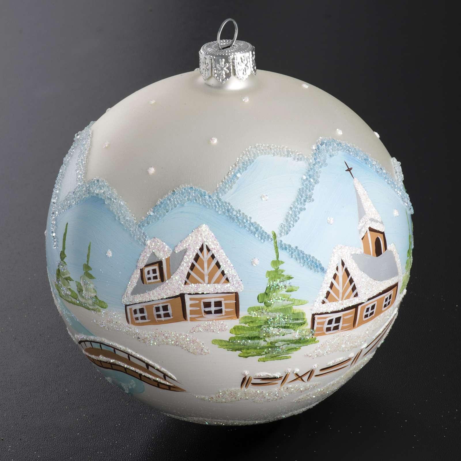 Palla Natale per albero vetro paesaggio innevato 10 cm 4