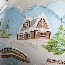 Palla Natale per albero vetro paesaggio innevato 10 cm s4