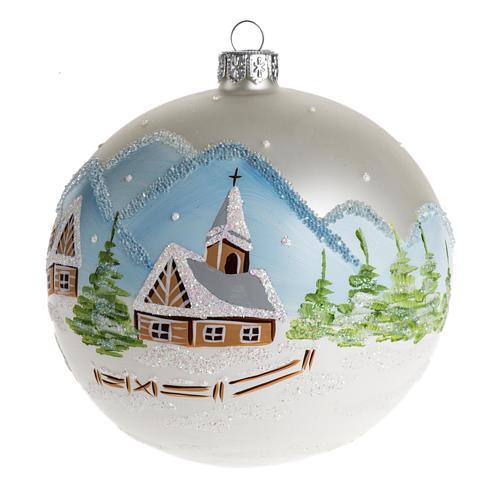 Palla Natale per albero vetro paesaggio innevato 10 cm 1