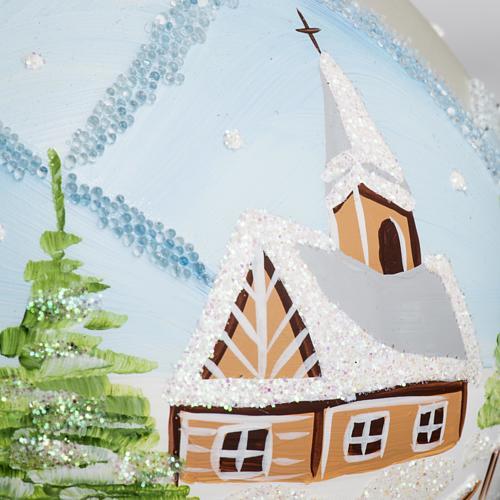 Palla Natale per albero vetro paesaggio innevato 10 cm 3