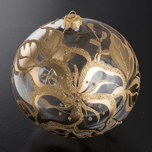 Palla Natale per albero vetro decori fiori 15 cm 2