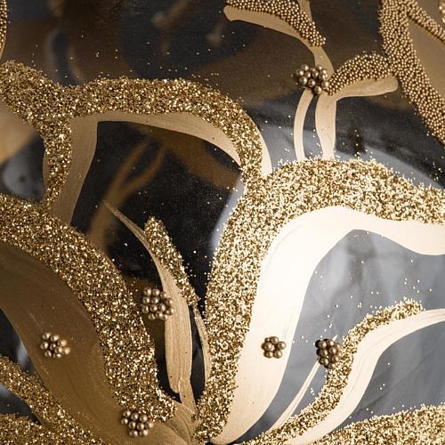 Palla Natale per albero vetro decori fiori 15 cm 3