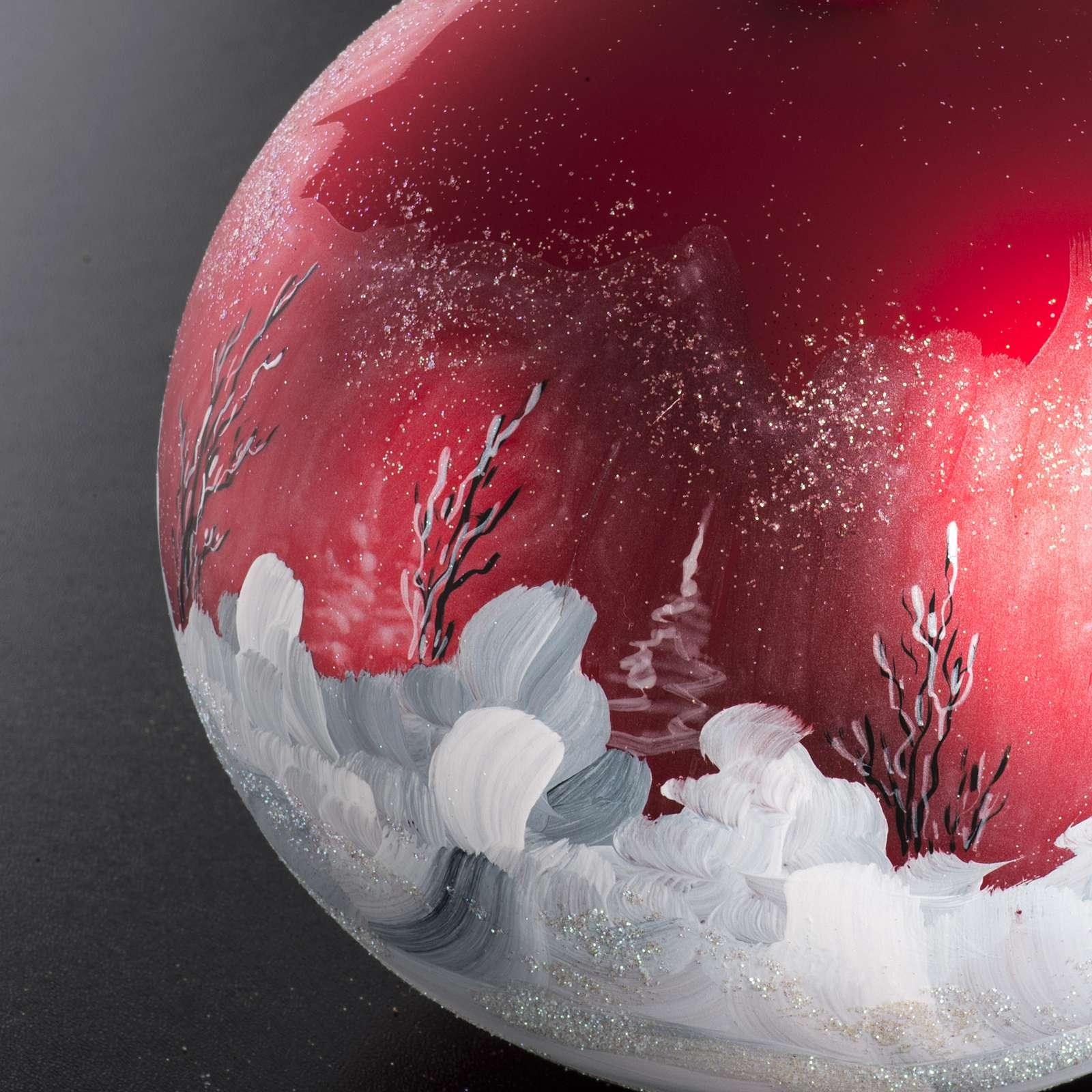 Palla Natale per albero vetro dipinto paesaggio 15 cm 4
