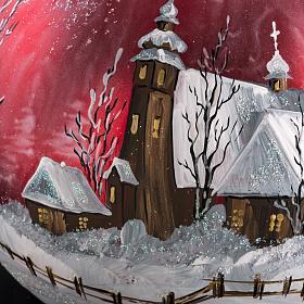 Palla Natale per albero vetro dipinto paesaggio 15 cm s3