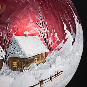 Palla Natale per albero vetro dipinto paesaggio 15 cm s4