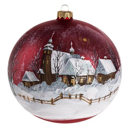Palla Natale per albero vetro dipinto paesaggio 15 cm 1