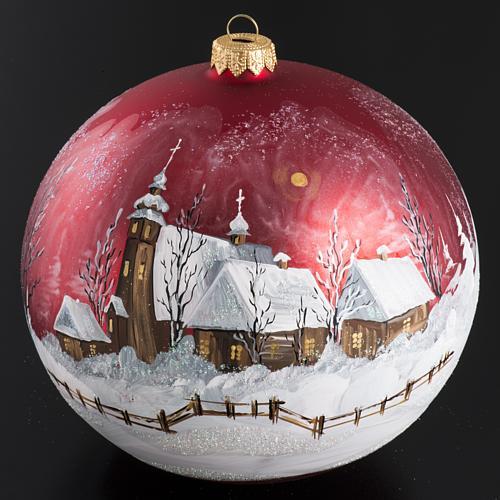 Palla Natale per albero vetro dipinto paesaggio 15 cm 2