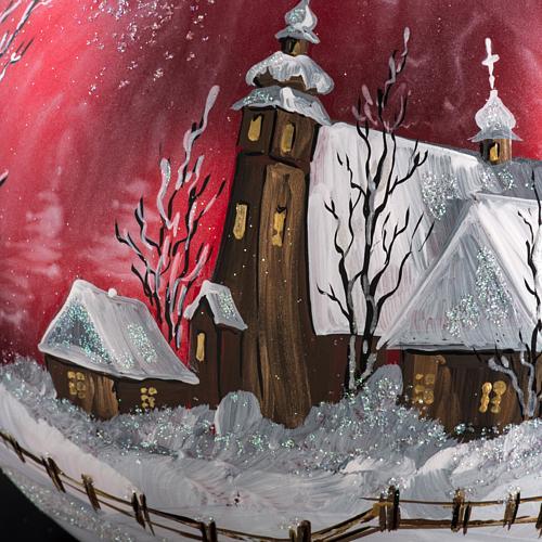 Palla Natale per albero vetro dipinto paesaggio 15 cm 3