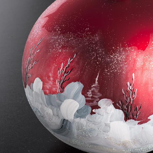 Palla Natale per albero vetro dipinto paesaggio 15 cm 5