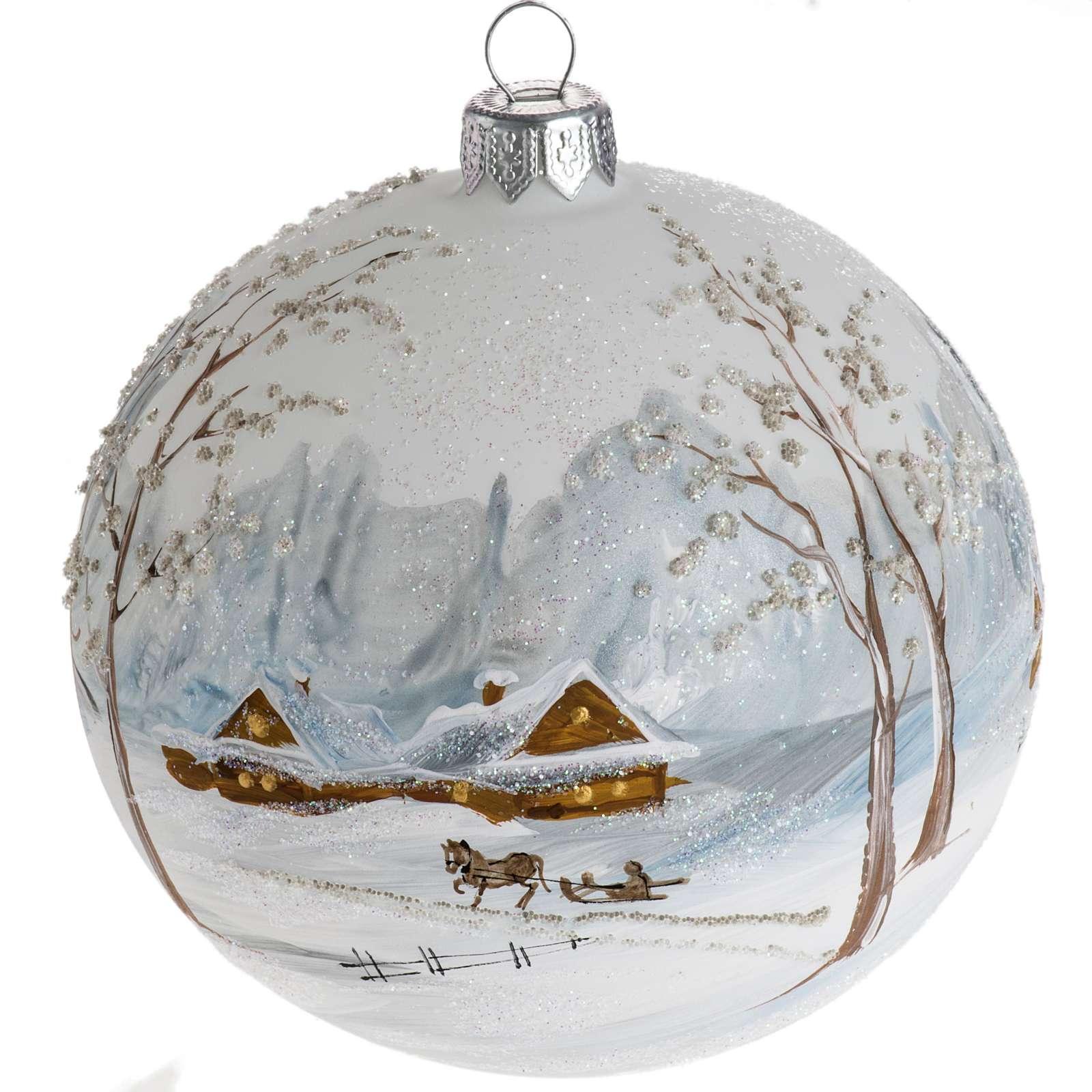 Palla Natale per l'albero vetro paesaggio con neve 10 cm 4