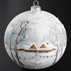 Palla Natale per l'albero vetro paesaggio con neve 10 cm s2