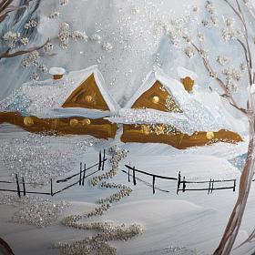 Palla Natale per l'albero vetro paesaggio con neve 10 cm s3