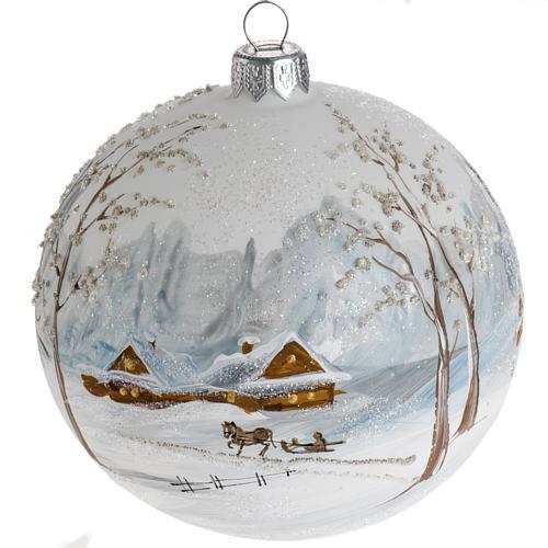 Palla Natale per l'albero vetro paesaggio con neve 10 cm 1