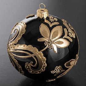 Bola de Navidad vidrio negro con decoración dorado 10cm s2