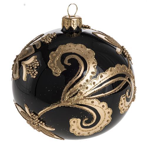 Bola de Navidad vidrio negro con decoración dorado 10cm 1