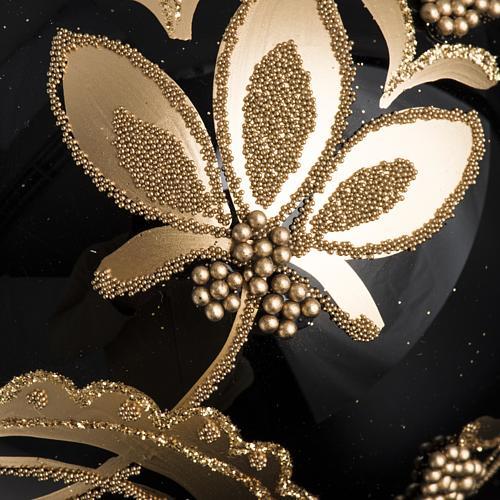 Bola de Navidad vidrio negro con decoración dorado 10cm 3