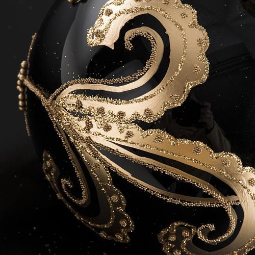 Bola de Navidad vidrio negro con decoración dorado 10cm 4