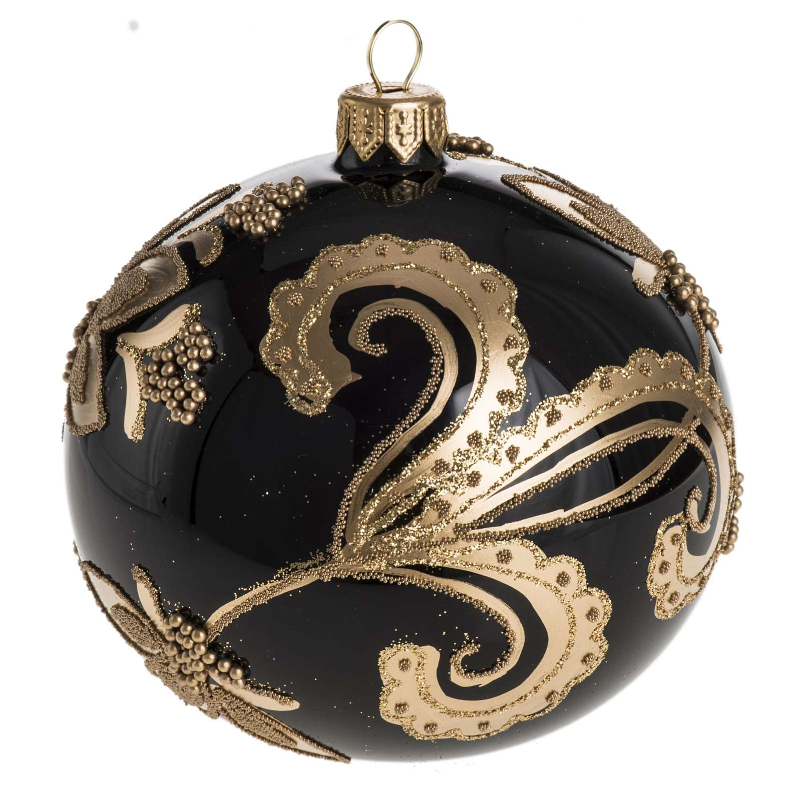 Bauble for Christmas tree in black glass with gold decoration 10 4