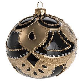 Boule de Noel noire décorée 10 cm s1