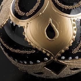 Boule de Noel noire décorée 10 cm s4