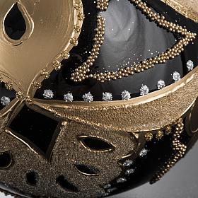 Boule de Noel noire décorée 10 cm s5