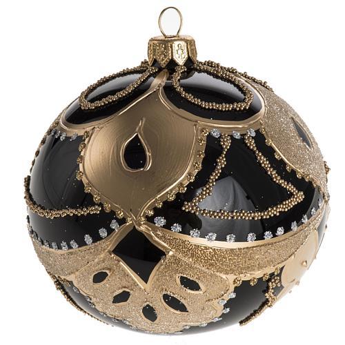 Boule de Noel noire décorée 10 cm 1
