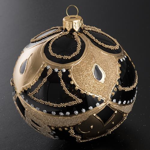 Boule de Noel noire décorée 10 cm 2