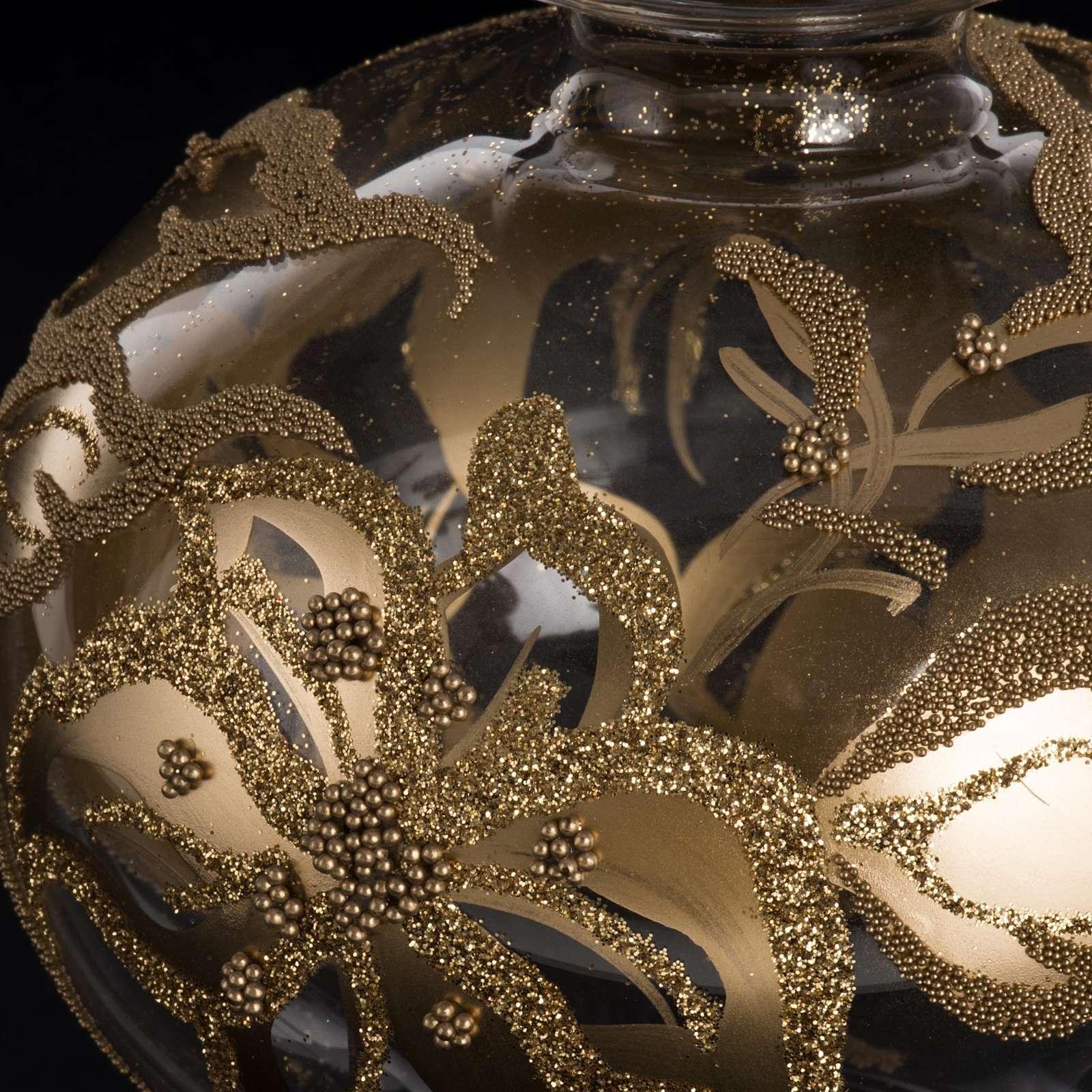 Adorno navidad en forma punta, vidrio decorado dorado 4