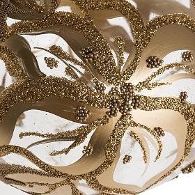 Adorno navidad en forma punta, vidrio decorado dorado s2