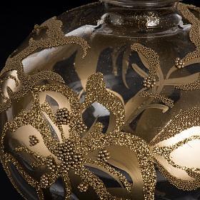 Adorno navidad en forma punta, vidrio decorado dorado s4