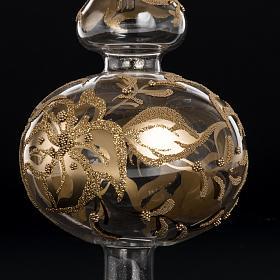 Adorno navidad en forma punta, vidrio decorado dorado s5