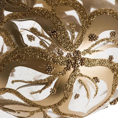 Adorno navidad en forma punta, vidrio decorado dorado 2