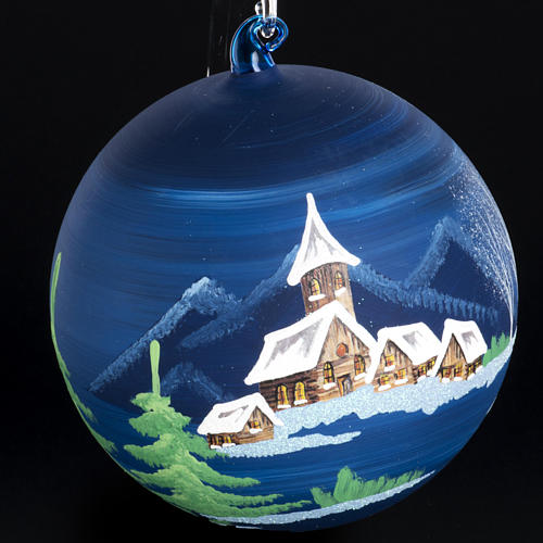 Boule de Noel paysage enneigé 14 cm 3