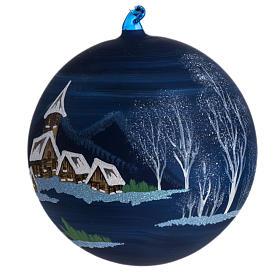 Palla Natale albero paesaggio vetro soffiato 14 cm s1